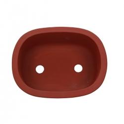 Pot 24.5 oval unglazed rust-coloured