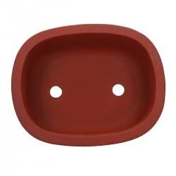 Pot 27 oval unglazed rust-coloured