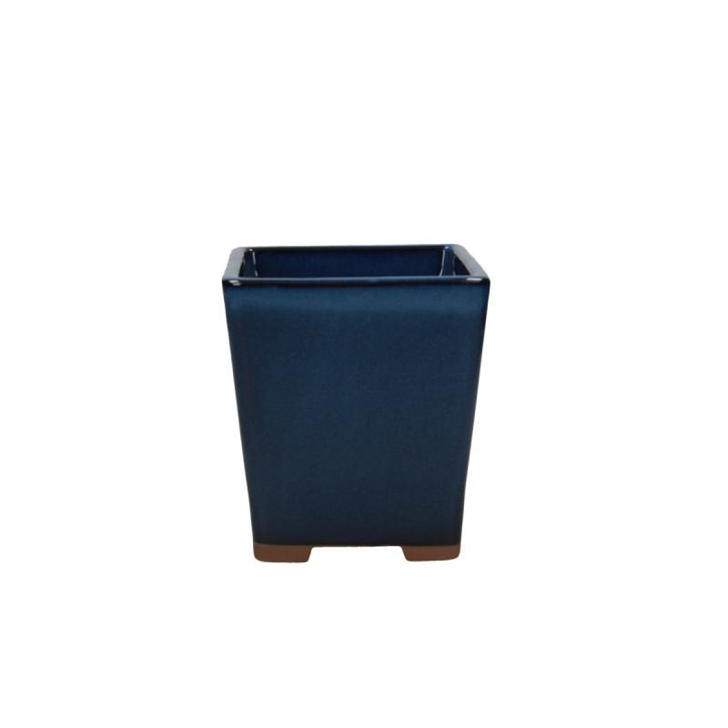 Pot 12,3 cm carré bleu
