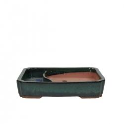 Pot 26 cm rectangular vert avec étang