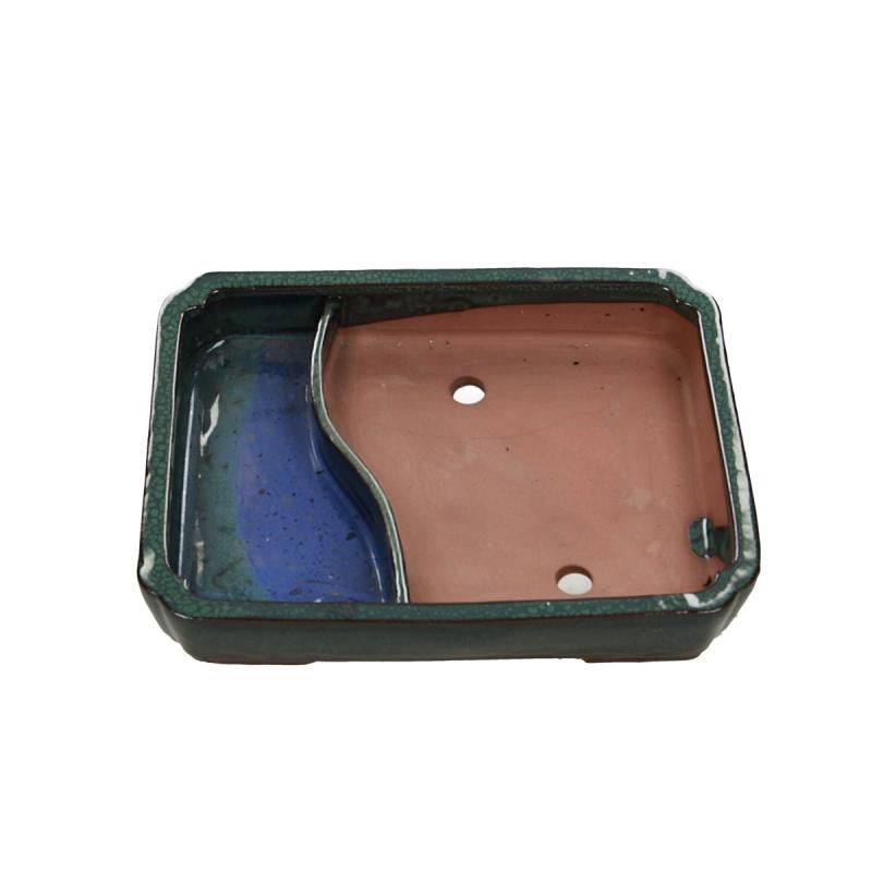 Vaso 26 cm rettangolare verde con laghetto