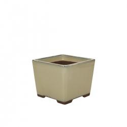 Vaso 13 cm quadrato beige