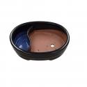 Pot 26 cm ovale bleu avec étang