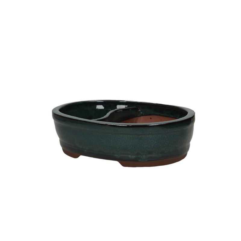 Vaso 26 cm ovale verde con laghetto