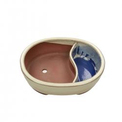 Vaso 26 cm ovale beige con laghetto