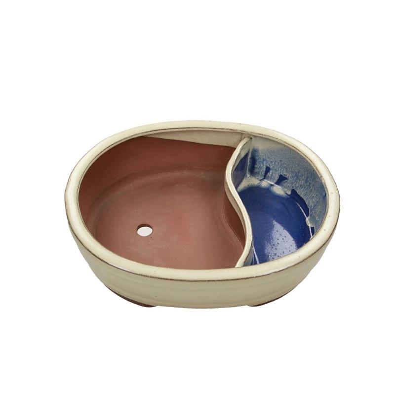 Pot 26 cm ovale beige avec étang