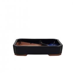 Pot 26 cm rectangular blue with pool