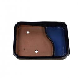 Pot 26 cm rectangulaire bleu avec étang
