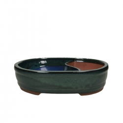 Pot 31 cm oval green with pool