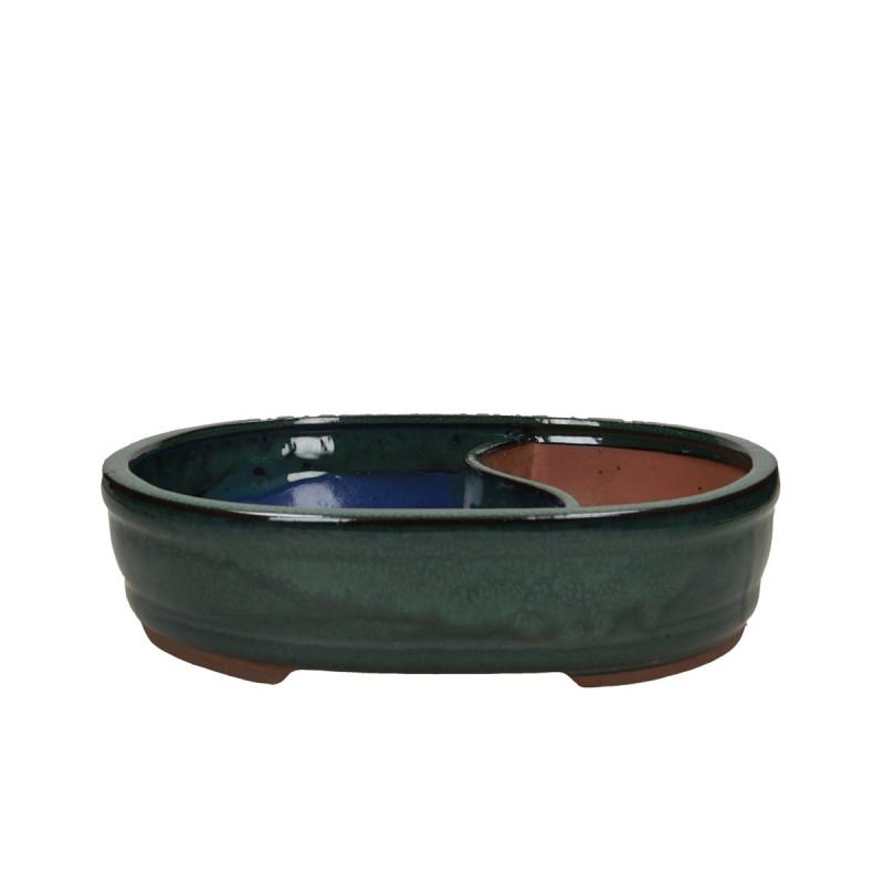 Vaso 31 cm ovale verde con laghetto