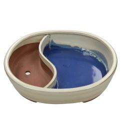 Vaso 31 cm ovale beige con laghetto