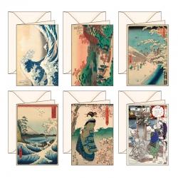 6 biglietti d'auguri Ukiyo-e