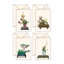 4 biglietti d'auguri Ikebana