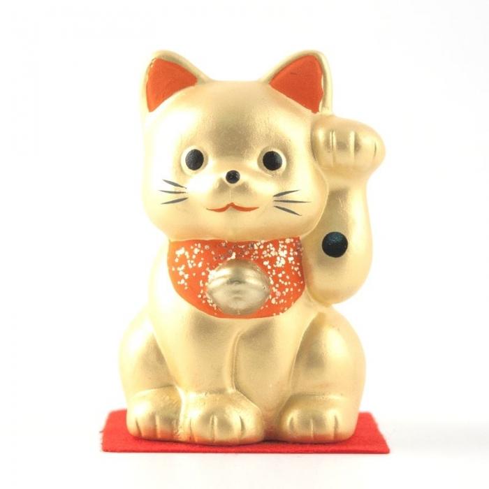 Gatto portafortuna Maneki neko color  oro