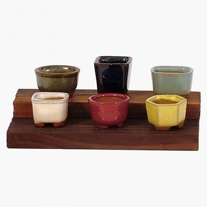 Set vasetti con base in legno