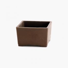 Vaso  7,5 cm quadrato marrone