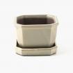 Pot 12 cm avec soucoupe octogonale beige