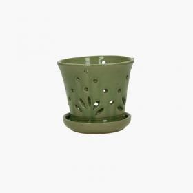 Vaso 14 cm con sottovaso per Orchidee tondo verde