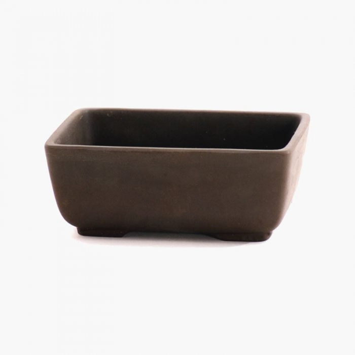 Vaso 14 cm rettangolare gres marrone