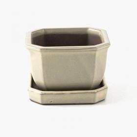 Vaso 15 cm con sottovaso ottagonale beige