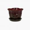 Vaso 16,5 cm con sottovaso per Orchidee rosso e marrone