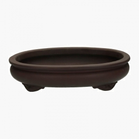 Vaso 36,5 cm ovale gres marrone