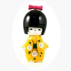 Bambolina kokeshi in legno  - cm 11 - giallo
