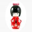 Bambolina kokeshi in legno  - cm 11 - rosso