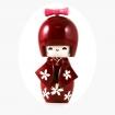 Bambolina kokeshi in legno  - cm 11 - rosso scuro