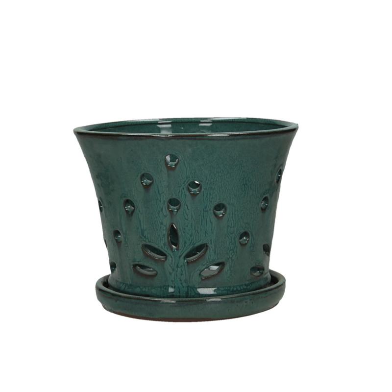 Vaso per Orchidee 19 cm con sottovaso tondo blu