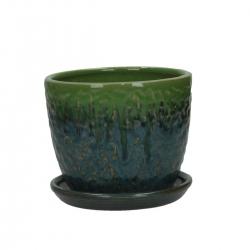 Vaso per Orchidee 14 cm con sottovaso tondo bicolore