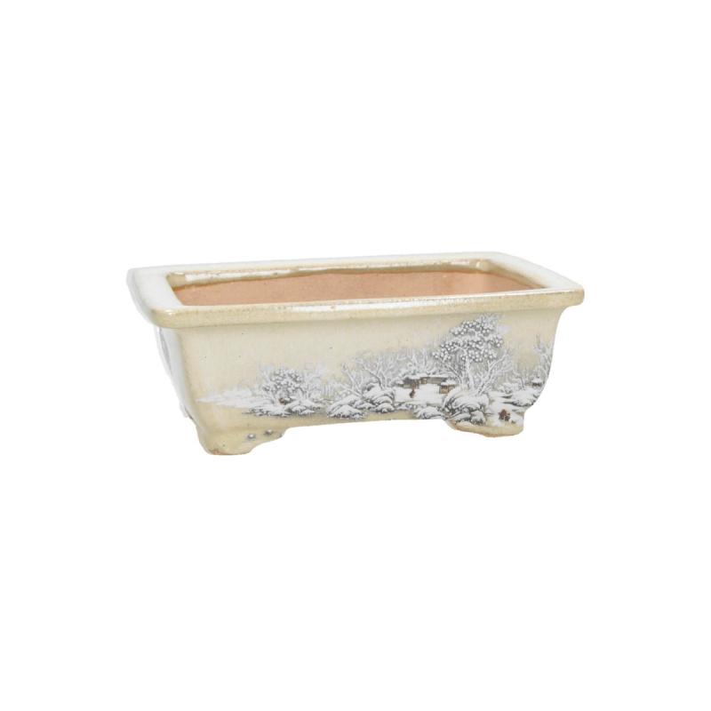 Hand-painted rectangular pot - 15.5 cm